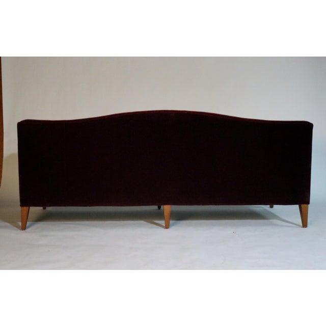 Baker Furniture Company Baker Archetype Model #2386-80 Red Merlot Mohair Sofa For Sale - Image 4 of 11