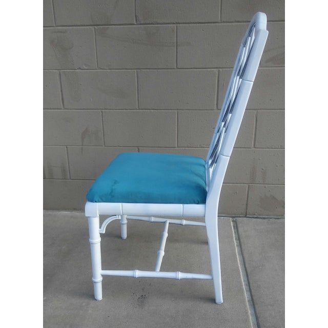 1970s Century Chippendale White Faux Bamboo Chairs - a Pair For Sale - Image 5 of 10