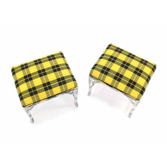 Mid-Century Modern Pair of Faux Bamboo White Wash Finish Yellow Black Plaid Upholstery Benches For Sale - Image 3 of 7