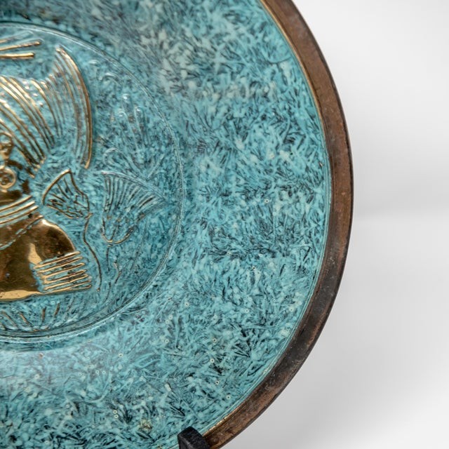 1950s Florintine Green Patina Wall Accent Decorative 12' Plaque / Plate For Sale - Image 5 of 10