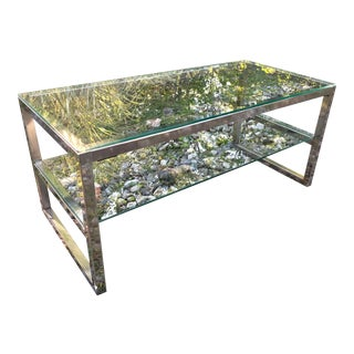 Mid Century Chrome and Glass Coffee Table Baughman Era For Sale