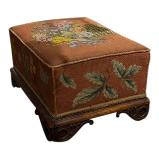English Needlepoint Footstool For Sale