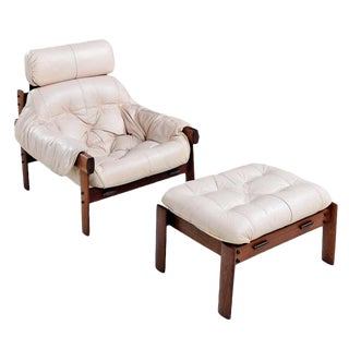 Percival Lafer Brazilian Blush Ivory Leather Rosewood Lounge Chair and Ottoman For Sale
