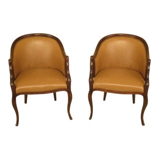Modern Swan Carved Arm Leather Club Chairs- A Pair For Sale