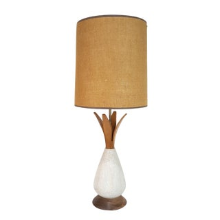 1960s Vintage Mid-Century Modern Walnut & White Pottery Pineapple Lamp For Sale