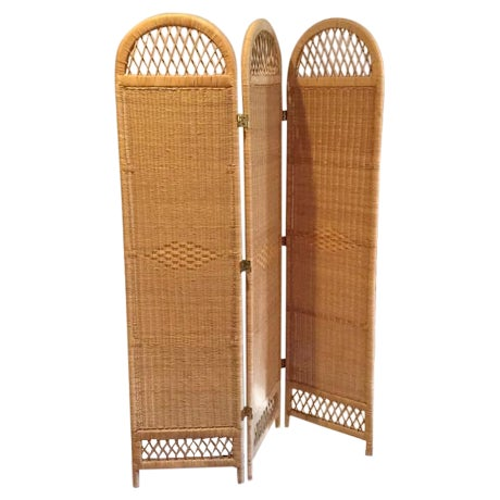 Vintage Wicker Rattan Folding Screen Room Divider - Image 1 of 7