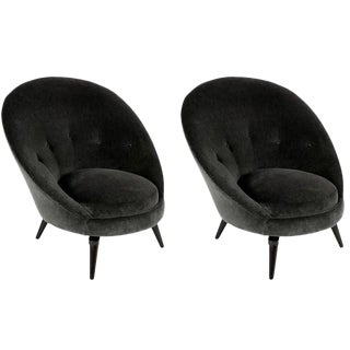 Swivel Egg Form Lounge Chairs - a Pair For Sale