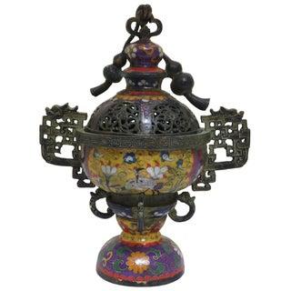 Chinese Metal Blue Enamel Cloisonne Incense Burner Figure
