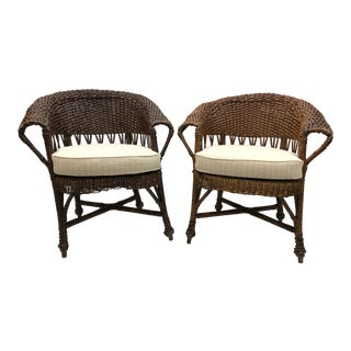 Early 20th Century Antique Wicker Arm / Club Chairs - A Pair For Sale