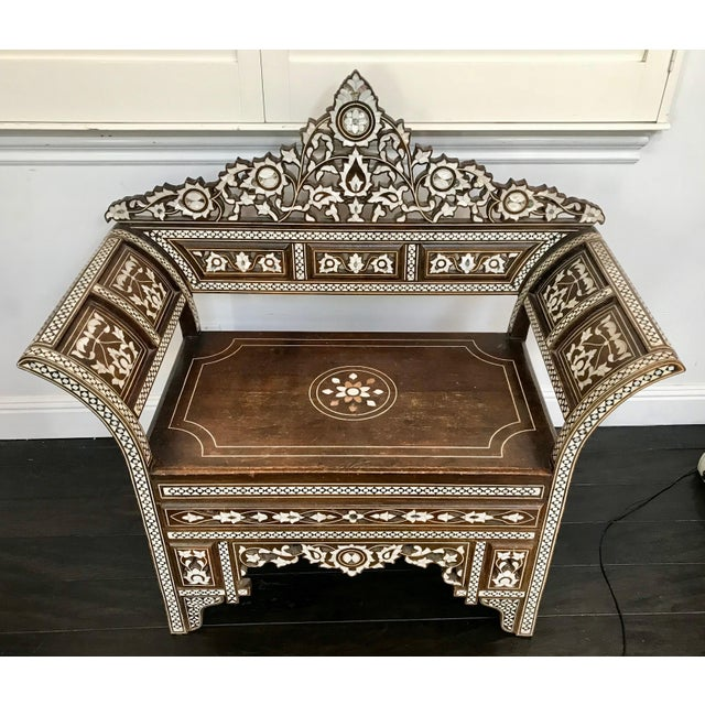 Antique Moroccan Bench With Inlaid Mother of Pearl and Abalone For Sale - Image 13 of 13