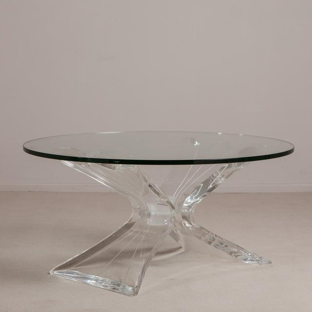 Mid-Century Modern Butterfly Shaped Lucite Coffee Table Usa 1970s For Sale - Image 3 of 5