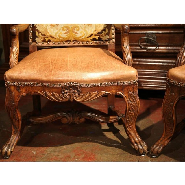 French Leather & Needlepoint Armchairs - a Pair For Sale - Image 9 of 10