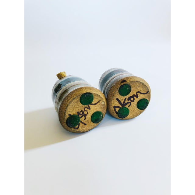 Wood Vintage Mid-Century Stoneware Studio Pottery Salt and Pepper Shakers - a Pair For Sale - Image 7 of 8