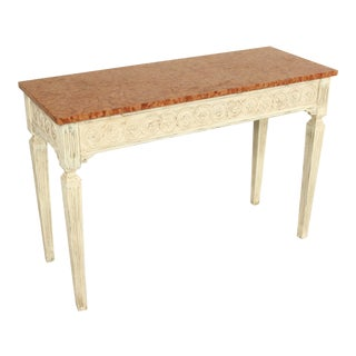 1960s Louis XVI Painted Console Table With Marble Top For Sale