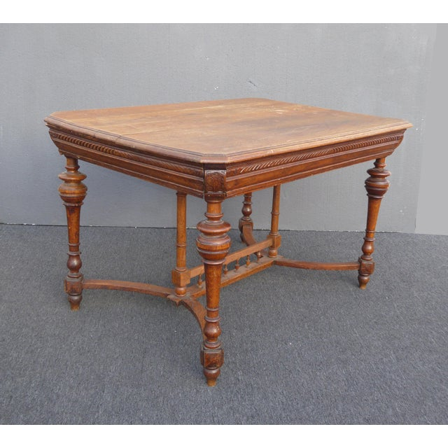 Wood Antique Spanish Style Library Table Desk W Stretcher Mission Style For Sale - Image 7 of 13