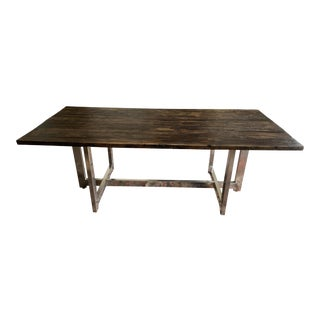 Industrial Custom Wood + Steel Dining Table For Sale