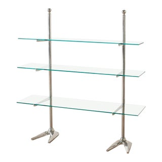 1960s Contemporary Chrome and Glass 3-Tier Bookshelf