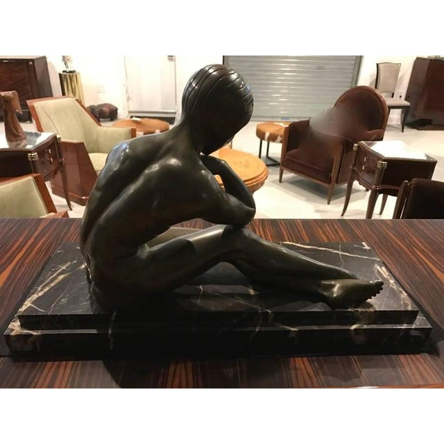 Gold Signed French Art Deco Bronze Sculpture of Nude Seated Female For Sale - Image 8 of 10