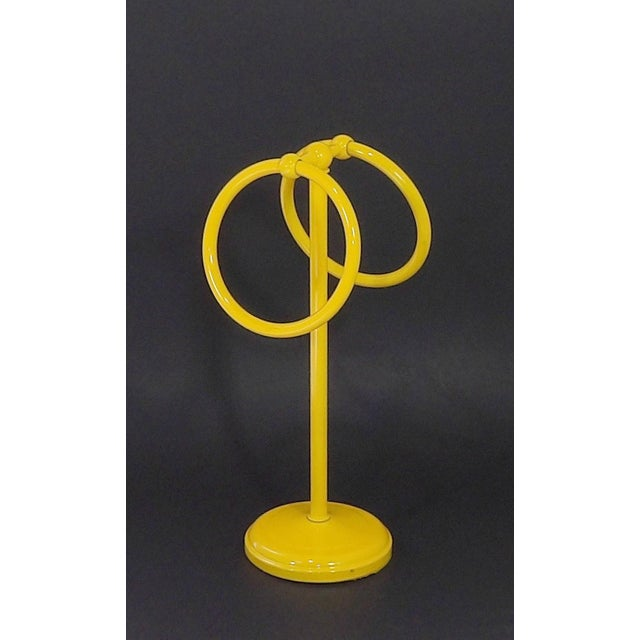 Mid-Century Modern Yellow Bathroom Hand Towel Holder Rack For Sale - Image 4 of 9