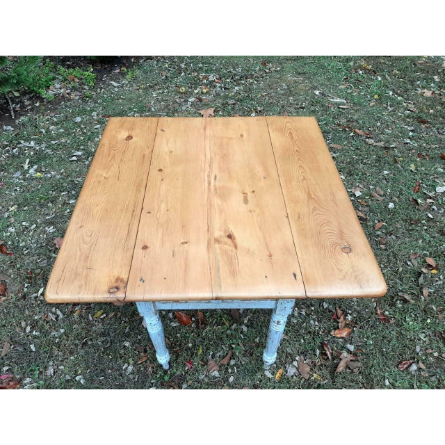 1800's Antique Pine Wood Drop Leaf Farmhouse Painted Distressed Table With Drawer For Sale - Image 6 of 13