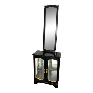 20th Century Chinoiserie Lighted China Display Cabinet With Matching Wall Mirror For Sale
