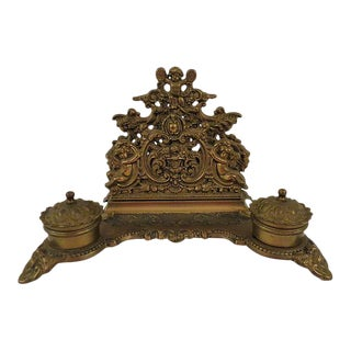 Antique French Louis XVI Style Bronze Double Inkwell For Sale