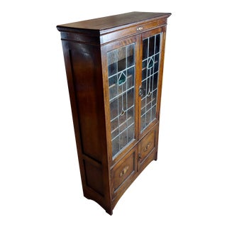 Antique Oak 2 Doors Bookcase W/Leaded Stained Glass Hearts-C.1900s For Sale