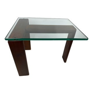 Mid-Century Modern Walnut & Glass Side Table For Sale