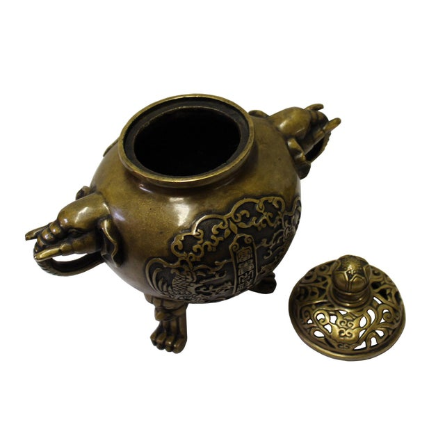 Chinese Oriental Fine Bronze Metal Incense Burner Display For Sale - Image 4 of 6