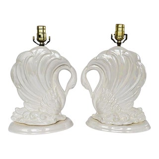Ceramic Swan Animalia Bird Table Lamps in Pearl White 1980s - a Pair For Sale