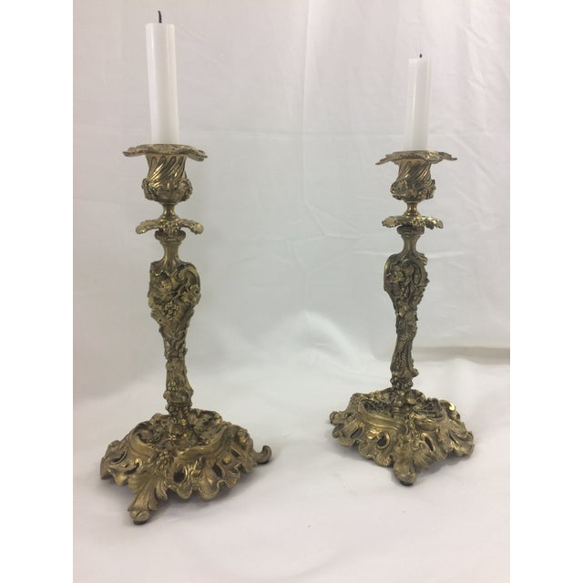 French Rococo Revival Bronze Doré Candlesticks, 1860 - A Pair For Sale - Image 6 of 6