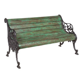 Vintage Indian Teak Wood and Iron Garden Bench For Sale