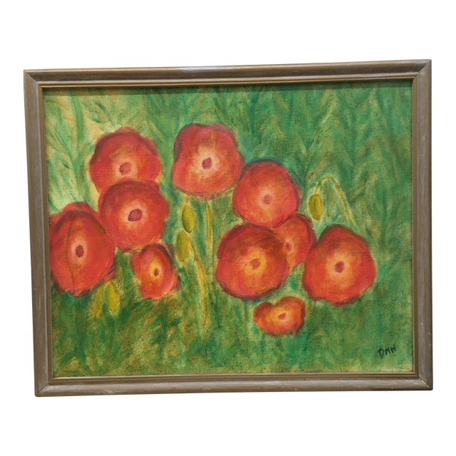 Vintage Poppies Painting on Canvas For Sale