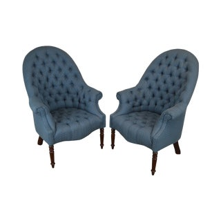 Hancock & Moore English Regency Style Custom Upholstered Pair Tufted Library Wing Chairs For Sale