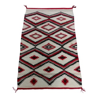 Navajo vintage Hand Woven Wool Rug w/Red Geometrical Patterns For Sale