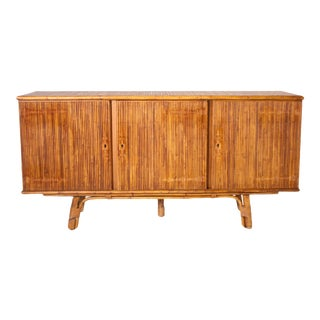1950s French Bamboo Credenza For Sale