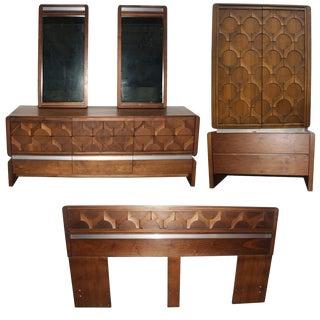 Walnut Brutalist Style Bedroom Set For Sale