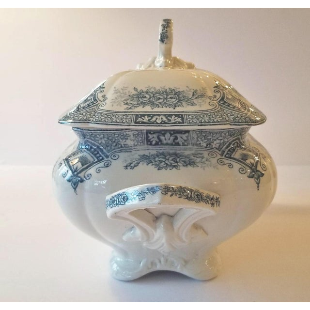 French Country 1910s French Transferware Lidded Tureen For Sale - Image 3 of 9
