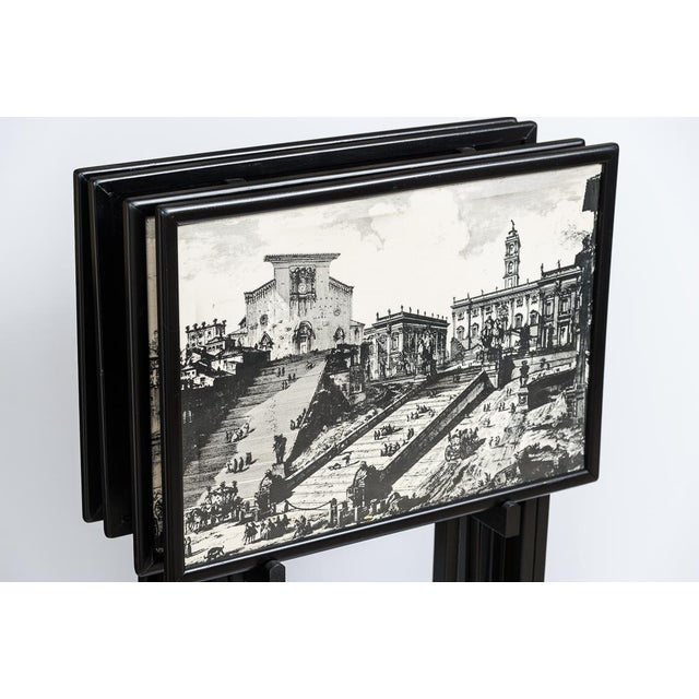 White Folding Tray Tables Set With Scenes From Rome, Italy in Black & White, Set -4 For Sale - Image 8 of 10
