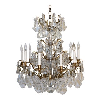 1970s Russian Winter Palace 15 Light Cut Lead Crystal Large Chandelier For Sale