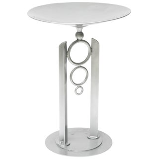 Modern, Artisan Bird Bath in Powder-Coated Silver Metallic Paint For Sale