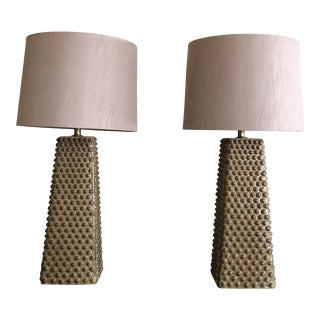 Mid-Century Modern Glazed Ceramic Textured Table Lamps - a Pair For Sale