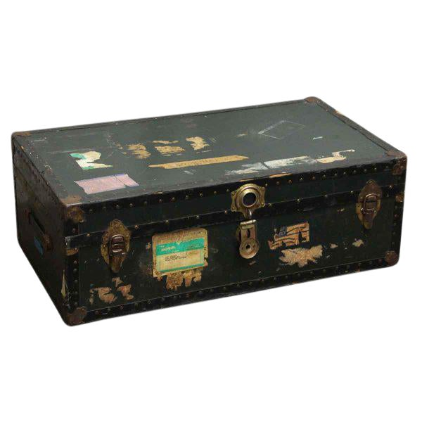 Antique Trunk With Bronze Hardware For Sale