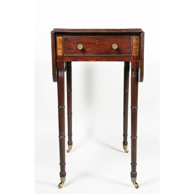 Regency Mahogany And Brass Inlaid Table For Sale - Image 9 of 10
