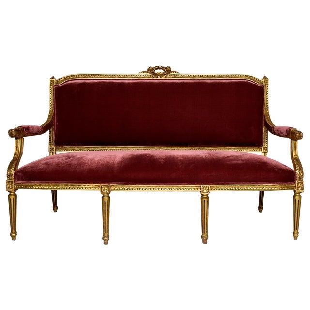 Vintage 1950s Louis XVI-Style Gilt Wood Sofa - Image 1 of 9