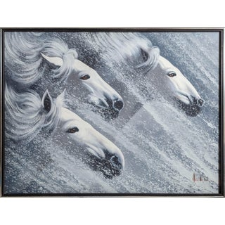 Photorealist Oil Painting of Horses in a Snowstorm For Sale