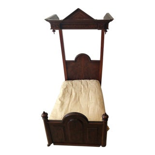 Antique Georgian Mahogany Child's or Dolls Half Tester Bed For Sale