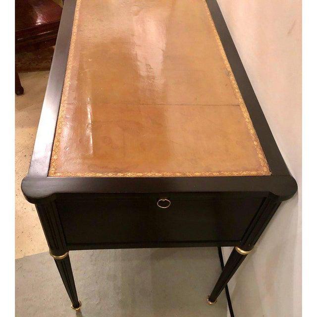 Hollywood Regency Ebony Louis XVI Inspired Ebonized Leather Top Bronze-Mounted Desk For Sale - Image 3 of 10