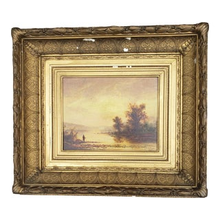 Late 19th Century Rustic Landscape Oil Painting by Julia Cornelia Widgery Griswold Slaughter, Framed For Sale