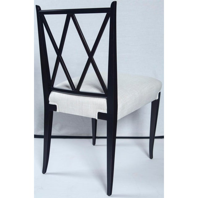 Hollywood Regency Mid Century Tommi Parzinger Double 'X' Back Chairs- Set of 4 For Sale - Image 3 of 8